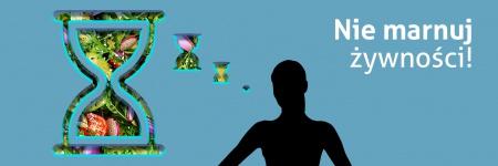 Obrazek przedstawia symboliczną postać kobiety, od której odchodzi chmurka myślowa. Chmurka ma kształt klepsydry. W chmurce umieszczone jest zdjęcie sałatki warzywnej. Na górze napis: Nie marnuj żywności!