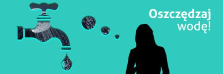 Obrazek przedstawia symboliczną postać kobiety, od której odchodzi chmurka myślowa. Chmurka ma kształt kapiącego kranu. W chmurce umieszczone jest zdjęcie prysznica, z krórego leje się woda. Na górze napis: Oszczędzaj wodę!