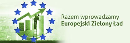 unijne gwiazdki, mężczyzna na drabinie poprawia zielony wykres